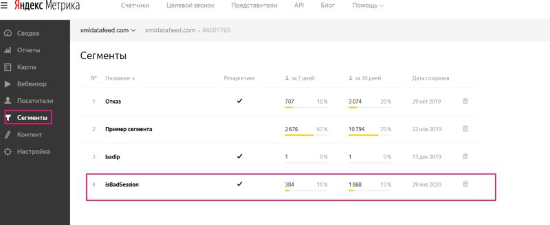 как сделать сегмент в яндекс метрика защита от кликфрода