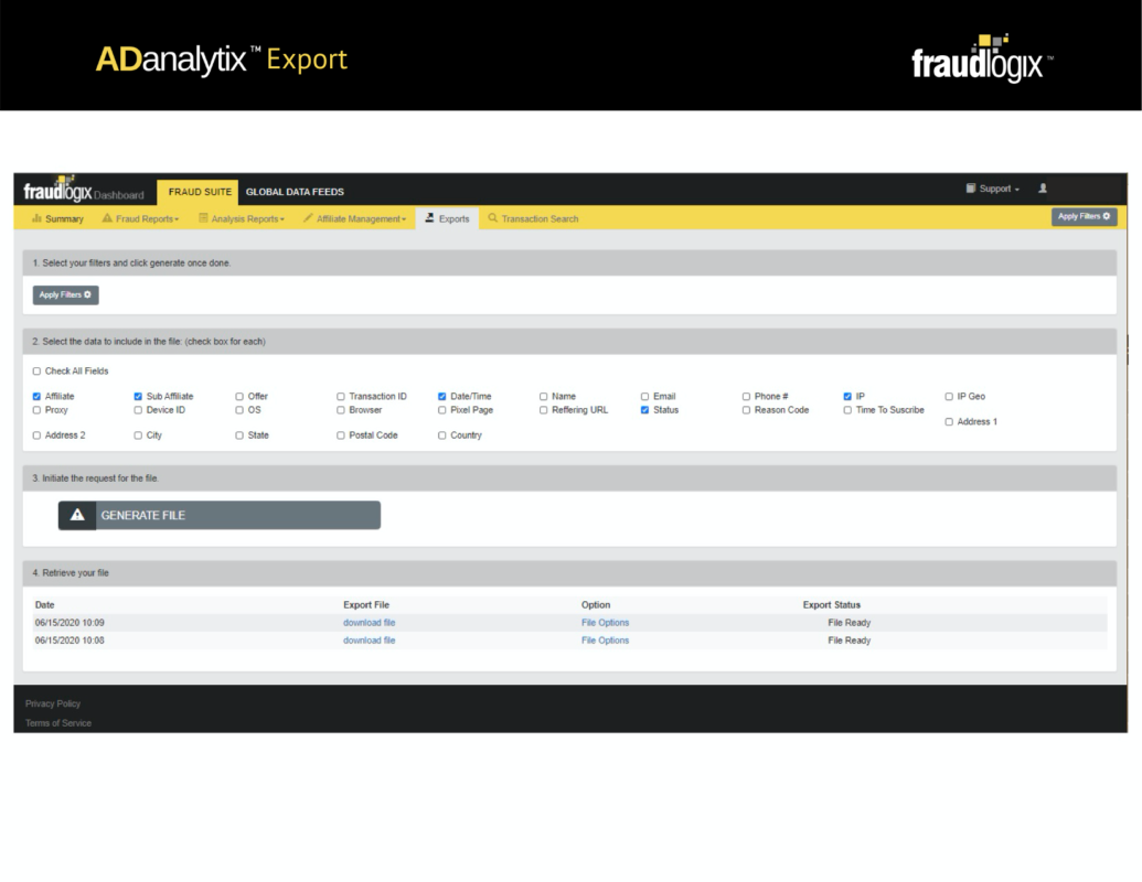 вкладка Exports во Fraudlogix Bot Detection, на которой можно применять фильтры и выбирать экспортируемые данные