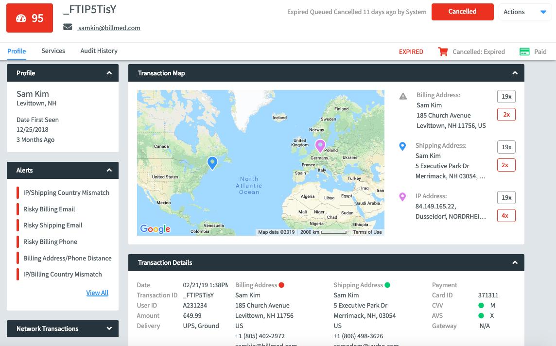информационная панель с данными о профиле пользователя
