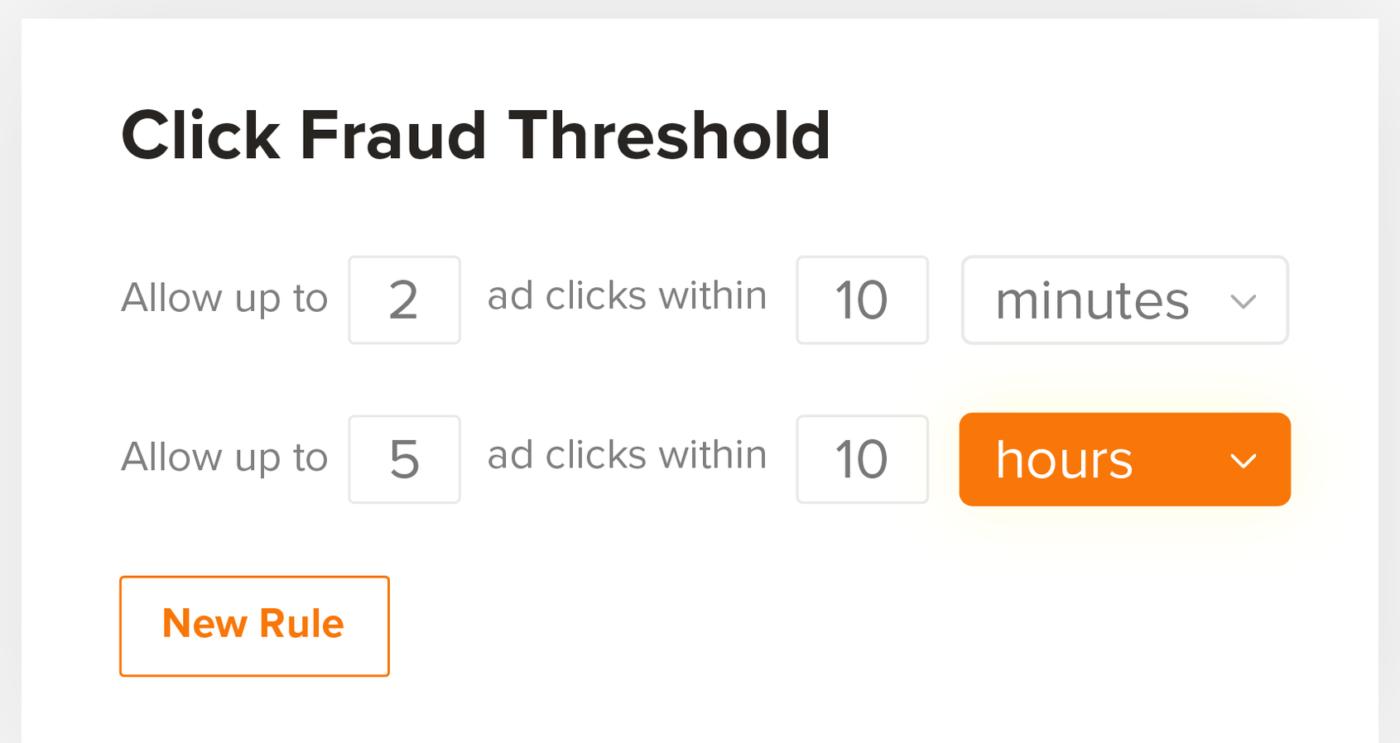 пример выбора порога допустимого количества кликов — 2 за 10 минут и 5 за 10 часов
