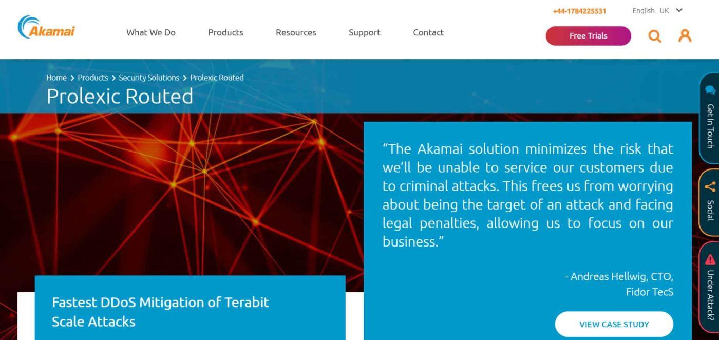 веб-страница программного продукта Prolexic Routed на сайте Akamai