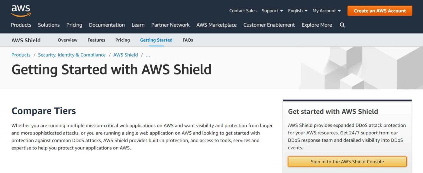 веб-страница с ознакомительными сведениями о AWS Shield на сайте разработчиков